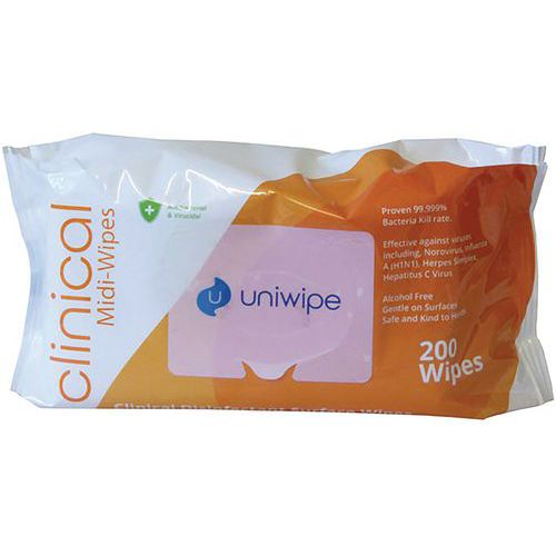 Uniwipe Clinical Midi-Wipes 200 pack